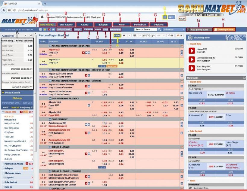 Panduan Penjelasan Menu Utama Di Maxbet Online